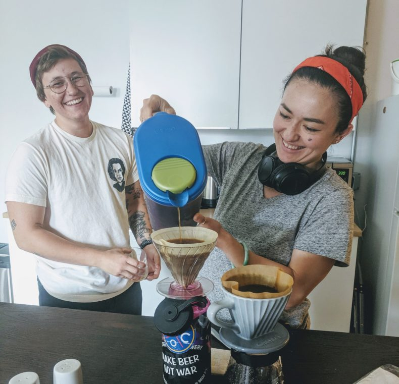 Paige and Clair making cold brew