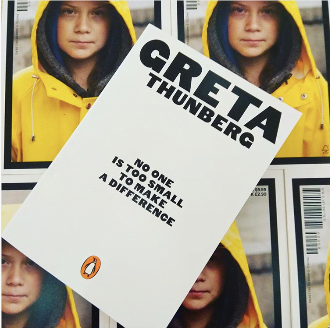 Greta Thunberg's book over images of herself