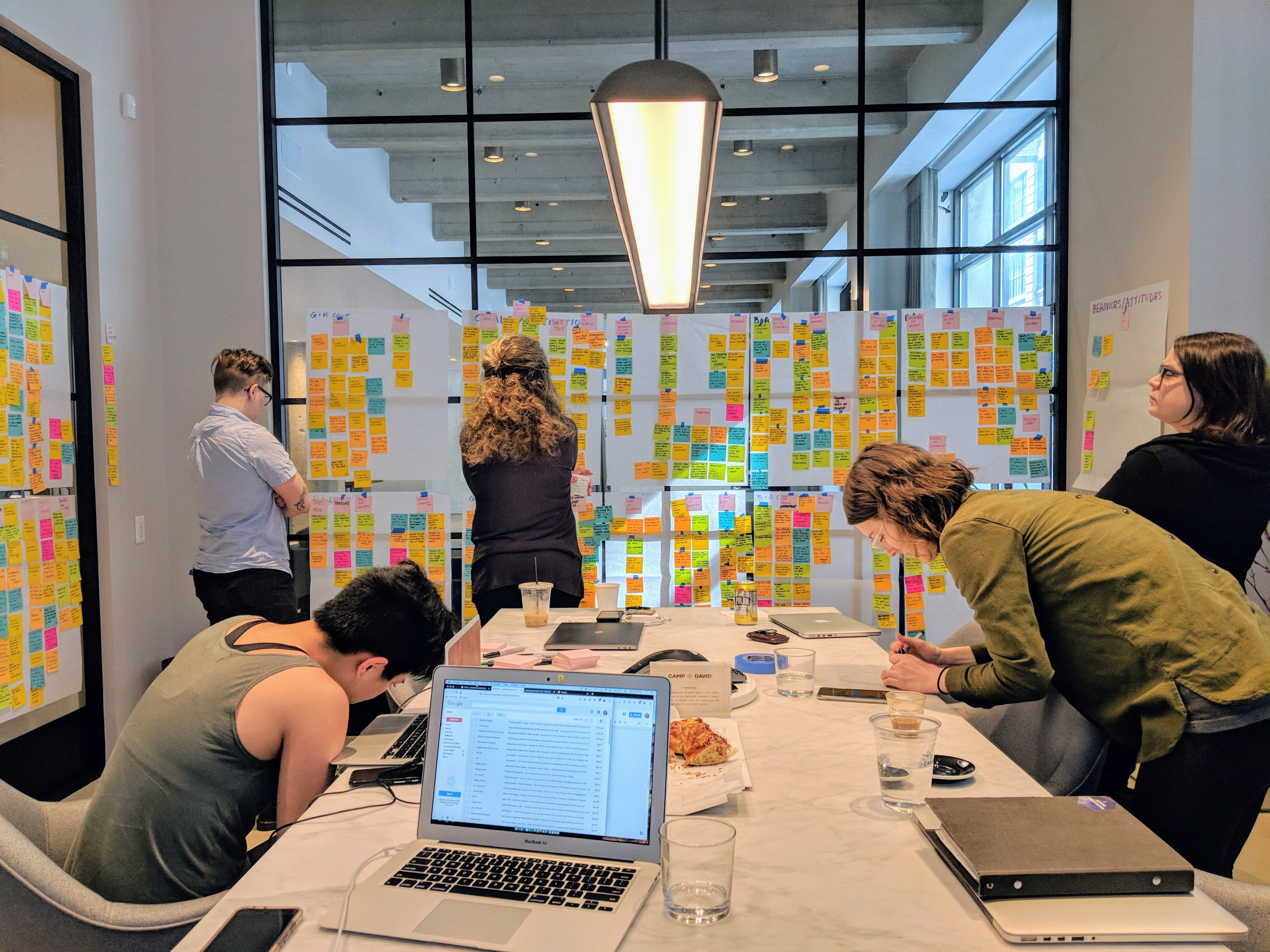 Photo of five people looking at post-its on windows in a conference room
