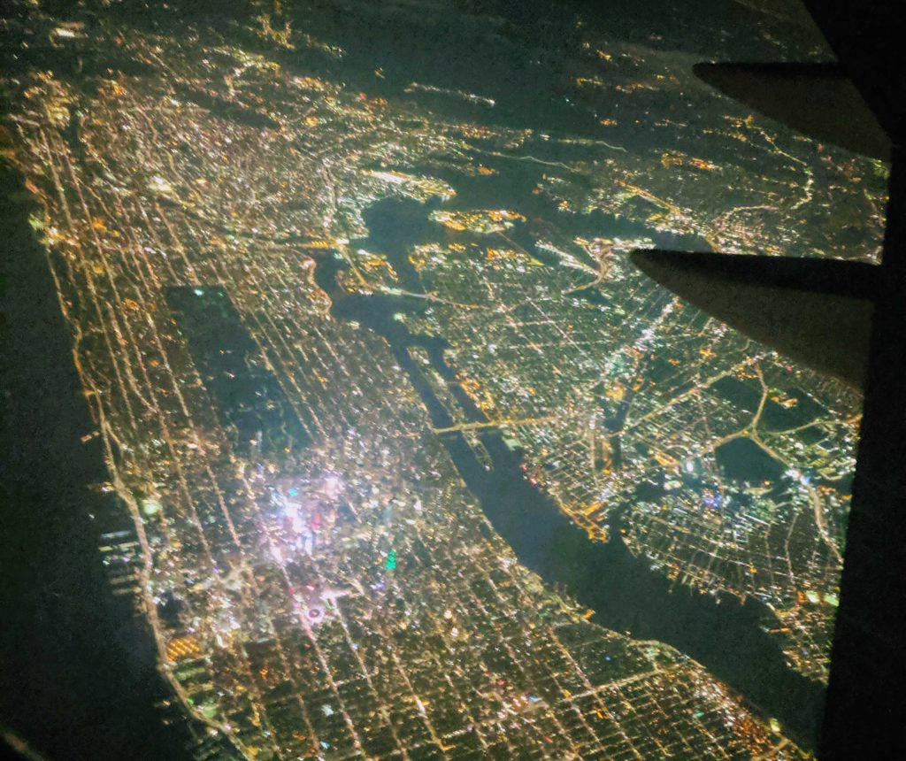 View of New York City taken from an airplane window seat