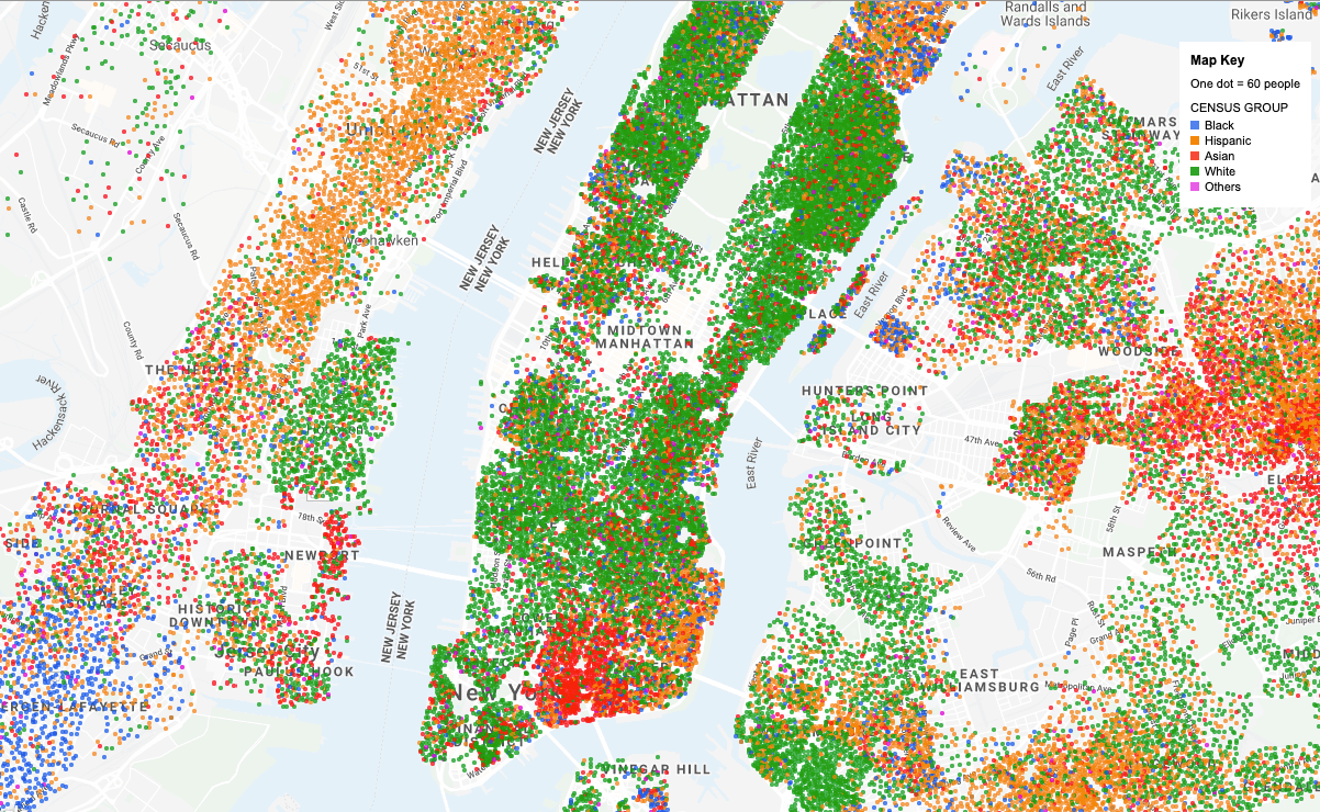 map of Manhattan with racial census group areas indicated